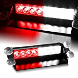 DIYAH 8 LED Warning Caution Car Van Truck Emergency Strobe Light Lamp For Interior Roof Dash Windshield (Red and White) (Color: Red and White)
