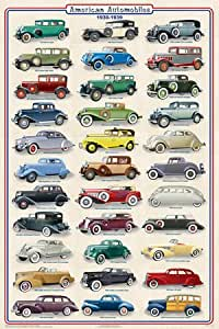 Amazon.com: (24x36) American Autos 1930-1939 Poster: Posters & Prints