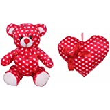 Deals India Valentine Red Heart Teddy - 35 Cm And Valentine Red Love Ribbon Heart - 35 Cm