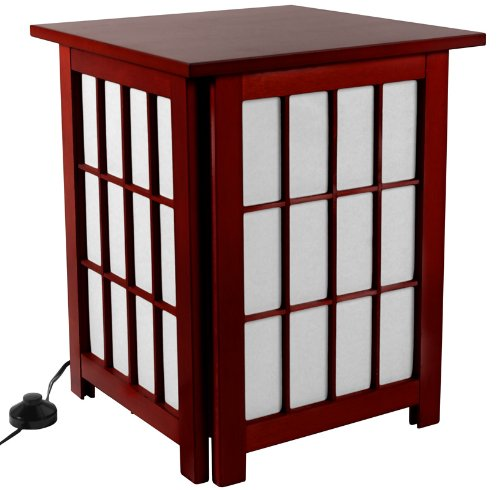 "Discount Lowest Price Asian Design Floor Lamp - 19"" Japanese End Table Nightstand Paper & Wood Lantern - Rosewood Stain"
