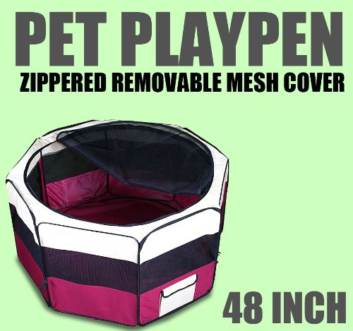 "New Deluxe 48"" Pet Dog Xl Playpen Kennel Exercise Pen Crate Red W/Carrying Bag"