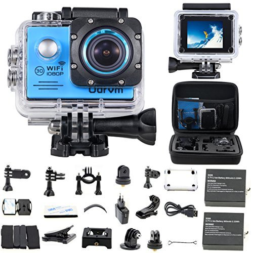 "Action Camera,Waterproof Camera Sport Camera Underwater Camera HD 1080P Wifi Action Cam 170° Wide Angle 2.0"" LCD with 2PCS Battery For Skiing Surfing Diving Swimming Skating"
