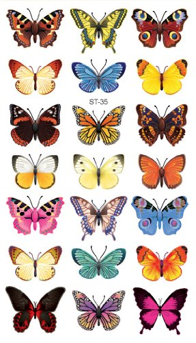 Supperb® Temporary Tattoos - 21 Butterflies