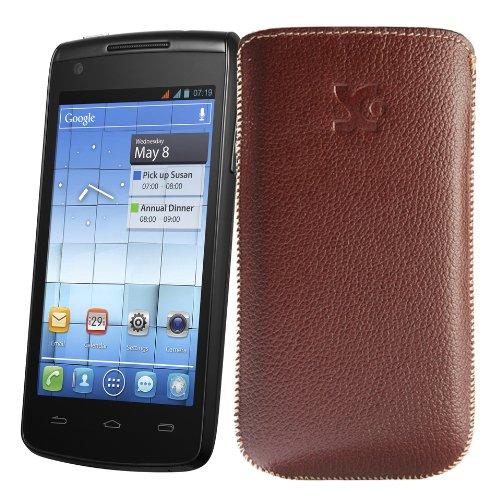Original Suncase Tasche fuer / Alcatel One Touch 992D (Dual-Sim) / Leder Etui Handytasche Ledertasche Schutzhuelle Case Huelle - Lasche mit Rueckzugfunktion* In vollnarbiges-braun