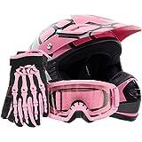 Youth Offroad Gear Combo Helmet Gloves Goggles DOT Motocross ATV Dirt Bike Spiderman Pink , Small