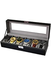 Sodynee WBPU6-03 6 Compartment Pu Leather Display Glass Top Watch Organizer Box