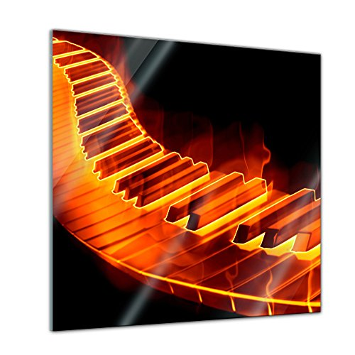 Bilderdepot24-Glasbild-Keyboard-on-Fire