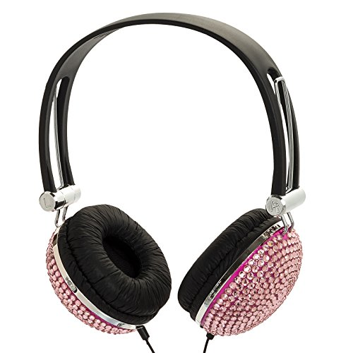 Crystal Rhinestone Bling Dj Over-Ear Headphones (Light Pink )