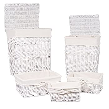 BirdRock Home Woven Willow Baskets with Liner | Set of 5 | Rectangular Hampers and Storage Bins with Lids | Decorative Wooden Wicker Baskets | Organizer | White