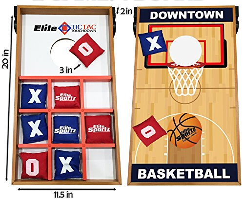 Junior Basketball Cornhole Bean Bag Toss Game for Kids - Reversible, 2 Games on 1 Board - Tic Tac Toe and Cornhole Party Games for Kids. (Toddler Corn Hole compare prices)