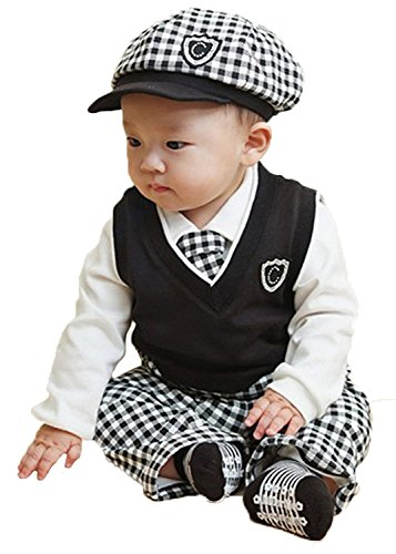 EGELEXY Baby Boys Wedding Check Tuxedo Suit Romper Bodysuit Outfits 6-24M