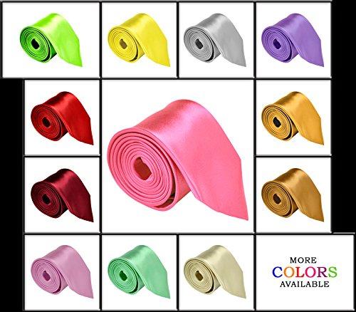 "Moda Di Raza – Mens Necktie 3.5"" Tie Satin Finish Polyester Ties Solid Colors"