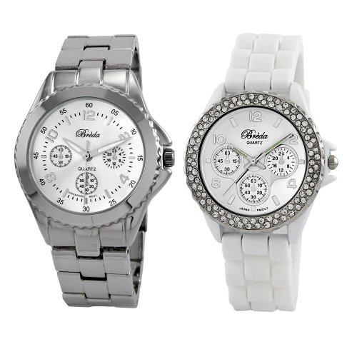 Breda Women's 8128.2266 Work Play Sleek Silver and Trendy Silicone Watch
