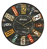 Large Rustic Wooden Wall Clock With USA Number Plates 60cm Diameter TimePiece