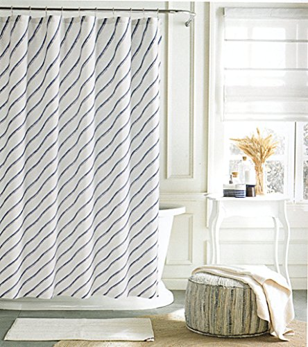 Tommy Hilfiger Cotton Shower Curtain Striped Waves Fabric Blue