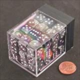 Chessex Manufacturing 26832 D6 Cube Gemini Set Of 36 Dice, 12 mm - Purple & Steel With White Numbering by Chessex Manufacturing
