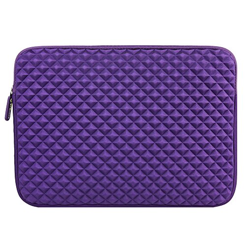 Evecase 13.3 ~ 14 Inch Chromebook/ Ultrabook Notebook Pc Diamond Foam Splash & Shock Resistant Neoprene Sleeve Case Travel Bag, Purple