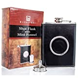 Wishstone Shot Flask with Mini Funnel by Wishstone, Premium Quality Leather Wrapped Flask, Collapsible 2 oz 304 Stainless Steel Shot-glass
