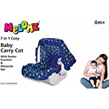 Krasa Melonz 7in1 Carry Cot With Rocker Function N Mosquito Net Color May Vary (Blue/Yellow)