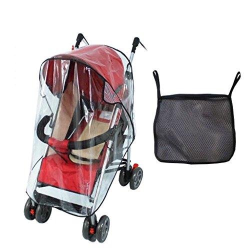 QUMAO - Parapioggia Impermeabile per Passeggino Bambino Protezione contro Vento Pioggia Meteo Scudo (+Storage Bag Nero)