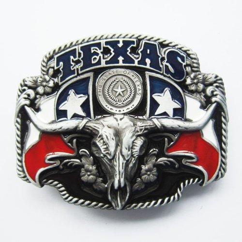 Texas State Cowboy Flag Black Belt Buckle
