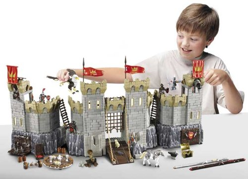 Mega Bloks Legends of King Arthur 96121 - Battle Action Castle with Lots of Accessories Plus An Exclusive King Arthur Figure, 2 Knights of the Round Table (Sir Percival and Sir Bedivere), 2 Dark Knights, a Galloping Battle Action Horse, Activated Flying Gryphon Creature and 3 MicroMotion Stunt Sticks