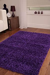 Luxurious Soft Dense Pile Purple Shaggy Rug 5 Sizes Available by The Rug House
