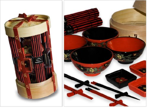 Sales! Ancestry Cookery 18 Piece Chinese Dining Set with Steamer Gift Basket for Four