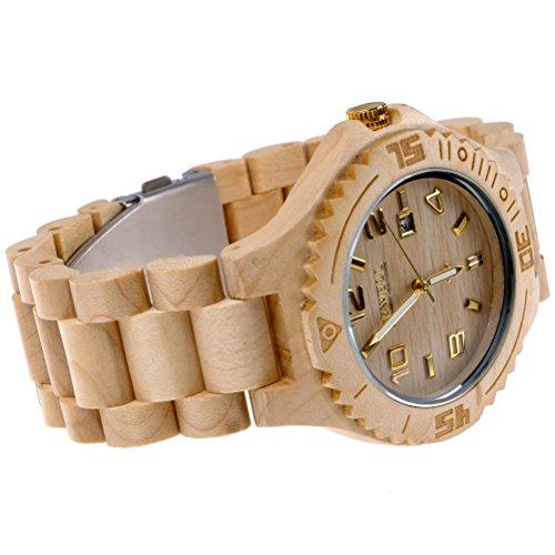 MEKU Mens Handmade Wooden Watch Groomsmen Gift Wrist Watch Wedding Gift,Beige