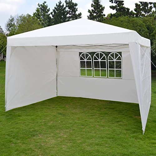10'X13'Ez Pop Up Folding Gazebo Camping Canopy W/Carry Bag Wedding Party Tent With Side Wall-White