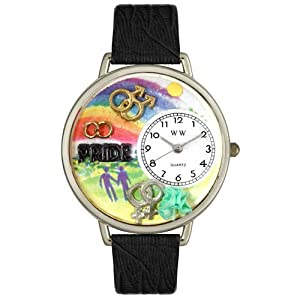 Gay Pride Black Skin Leather And Silvertone Watch