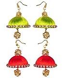 red green silk thread earrings - two set (RK-RD-GRN-SLK-ERNG)