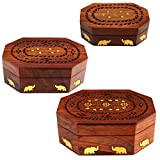 ITOS365 Handmade Wooden Jewellery Box for Women Jewel Organizer Elephant Décor, Set of 3