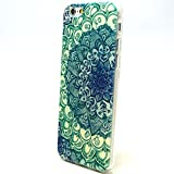 Iphone 6 Case,Colorful Pattern Scratch-Proof Sof TPU Gel Slim Snap On Case for iphone6 4.7 inch (Green Big Flower)