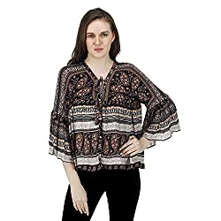 Women's Printed Peasant Top, Long Bell Sleeves, Trendy/Styish/Smart/Casual Top Wear for Women and Girls, Multi Colored