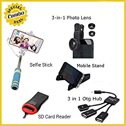 Selfie Stick + 3-in-1 Camera Lens + Card Reader+ Plastic Mobile Stand + 3 in 1 Otg Hub 5 IN ONE COMBO OFFER