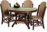 "Poly Lumber Patio Furniture Set Including 1 Oval Table (48"") and 4 Side Chairs in Weathered Wood & Green - Amish Made in USA"