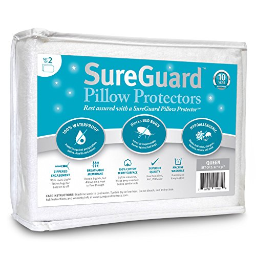 Find Bargain Set of 2 Queen Size SureGuard Pillow Protectors - 100% Waterproof, Bed Bug Proof, Hypoa...
