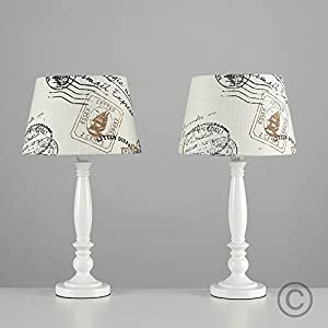 Pair of - Shabby Chic Traditional White Spindle Base and Vintage Letter Stamp Design Light Shade Table Lamps by MiniSun