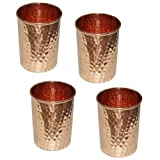 Pure Copper Hammered Tumbler For Healing Ayurvedic Product Tableware Accessories, Set Of 4, Height 9.5 Cm
