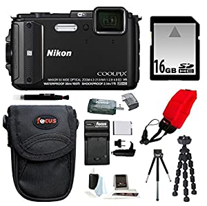 Nikon COOLPIX AW130 (Black) with 16GB Accessory Kit
