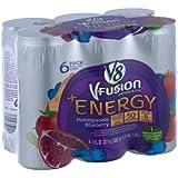 V8 V-Fusion Vegetable & Fruit +Energy Pomegranate Blueberry Flavored Beverage Blend - 6 CT