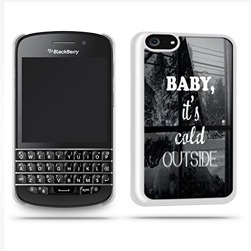 Baby Its Cold Outside Quote Winter Cool Retro Phone Case Shell For Blackberry Q10 - White