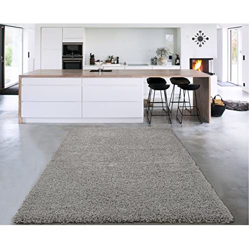 Sweet Home Stores Cozy Shag Collection Solid Design Shag Area Rug, 710 x 910, Grey