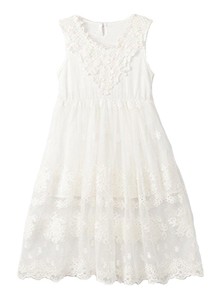 Horcute Princess Sleeveless Vintage Lace Long Flower Girl Dress 0