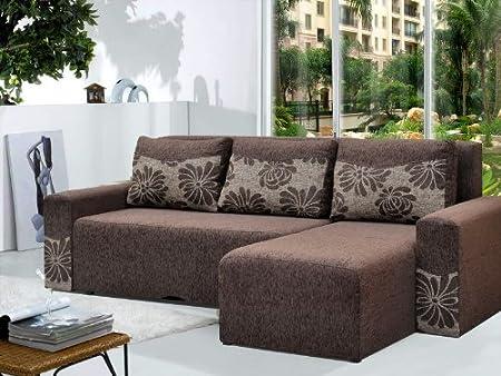 Brown Fabric Corner Sofa Bed PETER - Peter Polska rogowka - Polskie meble