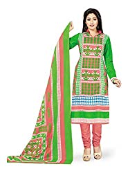 PShopee Green & Pink Printed Cotton Unstitched Salwar Suit Dress Material