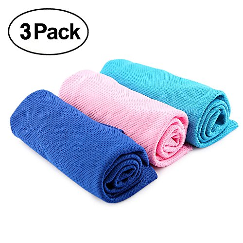 Ranipobo 3 Pack Multi Function Sports Exercise Gym Sweat Cool Towel Summer Ice Cold Cooling Neck Headband Scarf Towels 35.4 x 14.4 inch