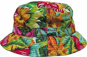 Bright Floral Print Bucket Hat Hawaiian Boonie Cap by KB Ethos