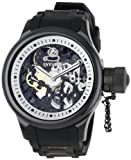 Swiss Watches:Invicta Men's 1091 Russian Diver Mechanical Skeleton Dial Black Polyurethane Watch